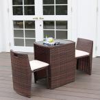 ガーデンテーブルセット おしゃれ ラタン コンパクト テーブル3点セット ガーデンセット ブラウン ホワイト 完成品 人気 リゾモダン CP001-3PSET