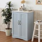 キャビネット カントリー調 アジュール 木製 収納 幅60 サイドボード 玄関収納 フレンチカントリー ブルー&ホワイト FFC-0002
