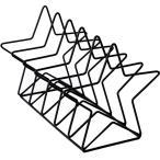 ブックエンド 星型 シンプル 等間隔な仕切り 北欧風 金属製 (ブラック)