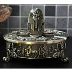 灰皿 古代エジプト ツタンカーメン 壁画風の模様 脚付き アンティーク風