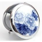 コンパクトミラー 花模様 陶器製 丸型 景徳鎮 (藍の牡丹)