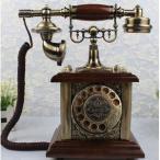 置物 電話機 電話器 アンティーク風 木質&ブロンズ インテリア