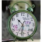 置時計 ツインベル フラワー柄 アンティーク風 カーキ