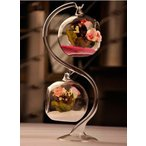 フラワーベース ガラス製 釣り鐘風 色砂&造花付き