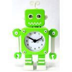 目覚まし時計 レトロ風 ゼンマイ式 ロボット型 (グリーン)