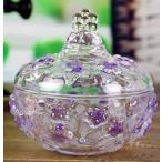 小物入れ 蓋付き レトロ風 かわいい ガラス製 (パープル)