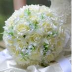 造花 バラ ブーケ 直径25cm (オフホワイト)