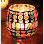 キャンドルホルダー カラフル 手作り飴風 装飾 モザイクガラス (大サイズ1個)