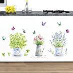 ウォールステッカー カントリー風 フラワーポットの花 蝶々