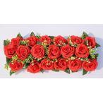 造花 バラ 花18個&台座付き 2個セット (レッド)