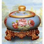 灰皿 ヨーロピアン風 花柄 台座 蓋付き 陶器製 (Lタイプ)