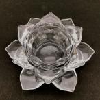 キャンドルホルダー 蓮の花 ガラス製 クリア 透明