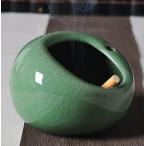 灰皿 コロンとした形 和風 陶器製 (グリーン×ひび割れ模様)