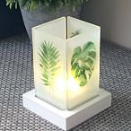 キャンドルホルダー 行灯風デザイン すりガラス ナチュラル (ボタニカルA)