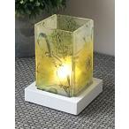 キャンドルホルダー 行灯風デザイン すりガラス ナチュラル (小鳥と花)