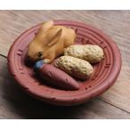 置物 茶寵 茶玩 中国茶道具 カゴに乗ったウサギ 落花生 にんじん 風水