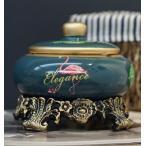 灰皿 フラミンゴ トロピカル 台座 蓋付き 陶器製 (ネイビー)