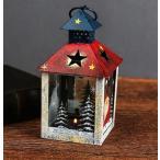 キャンドルホルダー かわいいブリキのハウス型 アンティーク調 北欧風 (赤い屋根)