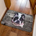 玄関マット 見上げるわんこ ワンちゃん 立体的な犬 3D風 (フレンチブルドッグ, ホワイト×ブラック)