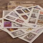 デコレーションシール 外国の切手風 アンティーク風 6枚セット