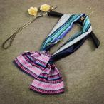 スカーフ ストール ボヘミアン風 サテン 長方形 ブルー系×ピンク系