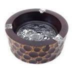 在庫処分 灰皿 象柄 アジアン 丸い手彫り柄 丸型 木製 (大)