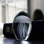 置物 蓄光ガラス クラゲ 台座付き (ホワイト)