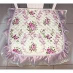 ショッピング椅子 イス用座布団 薄手 薔薇柄 キルト生地 フリル ひも付き 2枚セット (パープル)