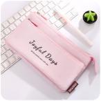 ペンケース 取り外し可能なポケット付き 大容量 英文字 パステルカラー 布製 (ピンク)