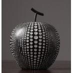 置物 リンゴ ドット柄 モダン 北欧風 樹脂製 (ブラック×大)