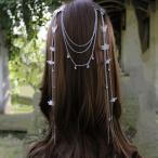 ショッピングコスプレ コスプレ 髪飾り ちょうちょ 両飾り  フラワーモチーフ付きのロングチェーン 金属製