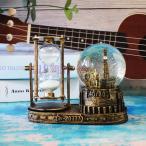 置物 砂時計&エッフェル塔のスノードーム コロッセオ風 アンティーク調 (ゴールド)