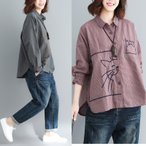 シャツ レディース 猫柄 ネルシャツ 綿 長袖 ゆったり 大きいサイズ ストライプ トップス