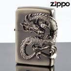 ZIPPO ジッポー #200レギュラー 龍サイドメタル ドラゴン DS-NI ニッケル鍮古美 ライター メール便限定 即納