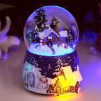 クリスマスオルゴール スノードーム 音楽付き LED 発光 オルゴール クリスマス装飾 水晶玉 冬の風景 置物 可愛い オシャレ クリスマス飾り