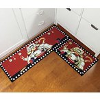 "キッチンEUCH Non-slip Rubber Backing Carpet Kitchen Mat Doormat Runner Bathroom Rug 2 Piece Sets,15""x47""+15""x23"" (three chef) 正規輸入品"