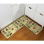 "キッチンEUCH Non-slip Rubber Backing Carpet Kitchen Mat Doormat Runner Bathroom Rug 2 Piece Sets,15""x47""+15""x23"" (Love Kitchen) 正規輸入品"
