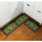 "キッチンEUCH Non-slip Rubber Backing Carpet Kitchen Mat Doormat Runner Bathroom Rug 2 Piece Sets,15""x47""+15""x23"" (Green Cup) 正規輸入品"
