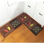 "キッチンEUCH Non-slip Rubber Backing Carpet Kitchen Mat Doormat Runner Bathroom Rug 2 Piece Sets,15""x47""+15""x23"" (carrot-brown) 正規輸入品"