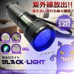 ブラックライト LED 12灯 自由研究 理科 科学 汚れ 釣り 蓄光力 絨毯 尿跡 チェック 偽造防止 ジェルネイル 残留確認SHILI01