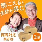 集音器 小型 2個セット 小型集音器 電池式 軽量 日本語取扱説明書付き 左右両用耳穴式タイプ 肌色 イヤホンキャップ大小3種 目立たない 収納ケース付き 高齢者用
