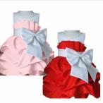 子供ドレス ベロアのリボンがとってもきゅーと 赤 ピンク 発表会 チュチュkiss jaja cx-096