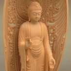 中国工芸美術大師(人間国宝)仏師製作 阿弥陀如来像 雲台座・舟形水煙光背 5.5寸