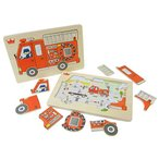 パズル 子供 幼児 木のおもちゃ 2歳 3歳 4歳 子供 誕生日プレゼント Go! Go! Fire truck
