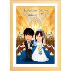 似顔絵ウェルカムボード 結婚式 ウエディング マット付額縁無料 似顔絵プレゼント マット付ガラス額縁