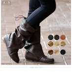 ロングブーツ くしゅくしゅ ナウシカ ブーツ レディース 靴 編み上げ 大きいサイズ 女性用 ナウシカブーツ ルーズ デニム ガウチョ