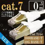 LANケーブル cat7 0.5m ホワイト 0923
