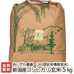 令和元年度新米 JAS認証 新潟産 有機栽培米コシヒカリ 玄米5kg あいざわ農園/無農薬/のし無料/送料無料