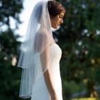 ウェディングベール ウエディング 結婚式 花嫁 ウェディングドレス ヴェール パーティー 2層 エッジ メタルコーム付き 結婚式用 教会挙式 披露宴