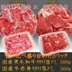 送料無料 A5A4国産黒毛和牛霜降切り落とし500g×国産牛赤身切り落とし500g食べ比べ盛り合わせセット 牛肉 訳あり こま切れ